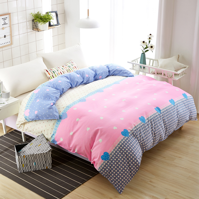New Design 1 Pc Pink Duvet Cover Skin Care Cotton Comforter Case Cute Flower Quilt Cover for Girl Home Gift Twin Full Queen Size