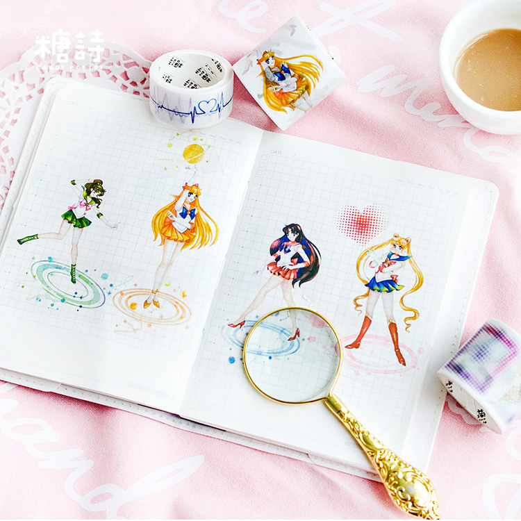 Cute Kawaii Sailor Moon Japanese Masking Washi Tape Decorative Adhesive Tape Decora Diy Scrapbooking Sticker Label Stationery