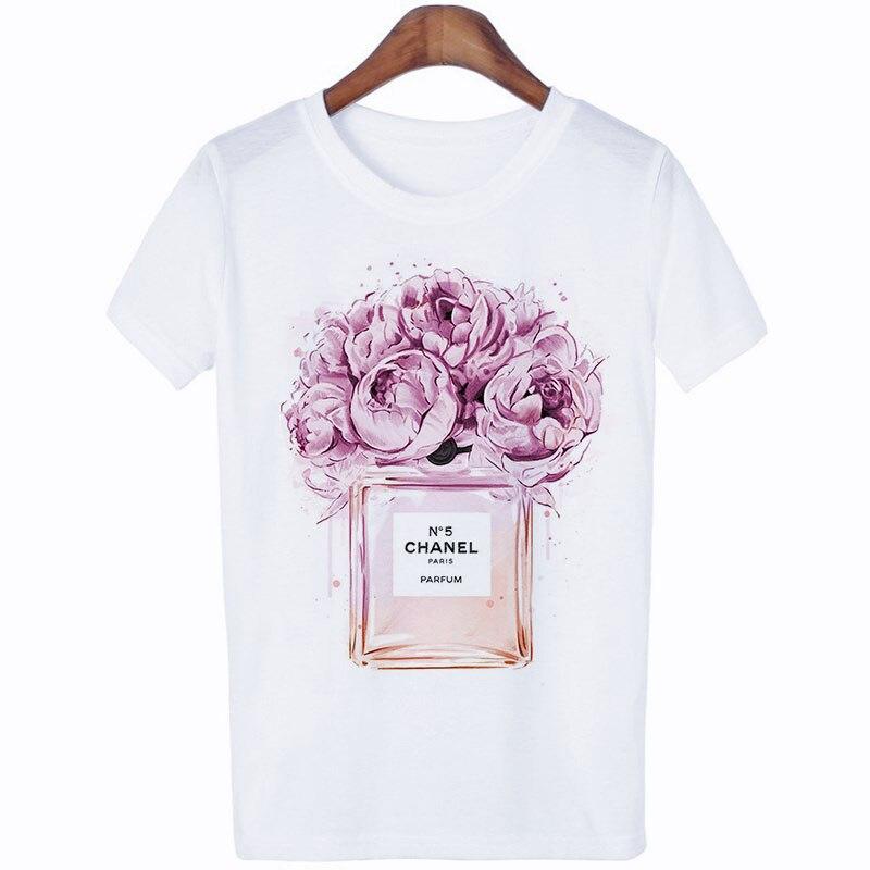 Camisetas Verano Mujer 2019 Harajuku Fashion Thin Section Perfume Flower Woman   T     Shirt   Leisure Aesthetic Streetwear Trend Tshirt
