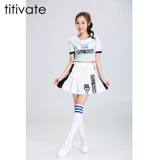 TITIVATE Sexy High School Girls Cheerleading Costume Short Sleeves Cheerleader Uniform Lady Halloween Costume Top+  sc 1 st  AliExpress.com & TITIVATE Sexy High School Girls Cheerleading Costume Short Sleeves ...