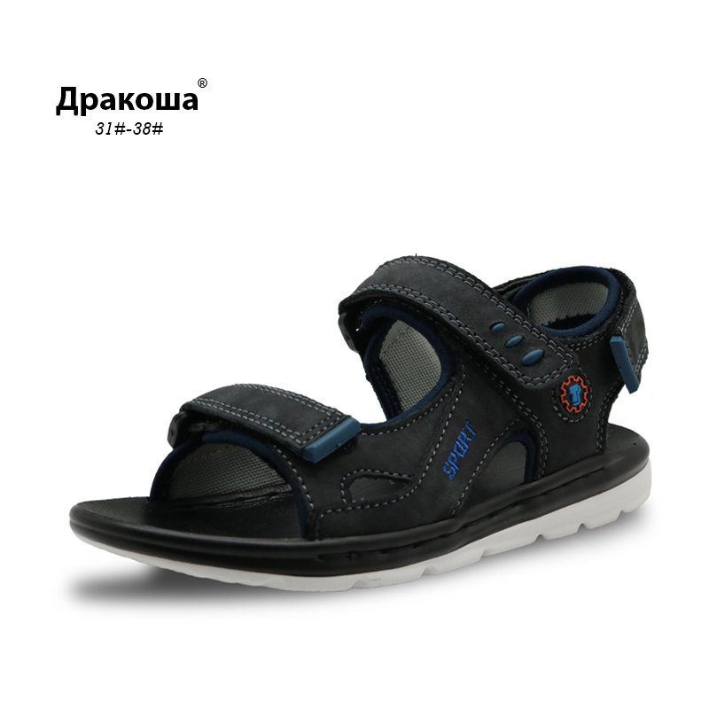 Apakowa Genius Leather Boys Sandals Summer New Children Shoes Boys Fashion Cut-outs Sandals Kids Sandals Breathable Flats Shoes