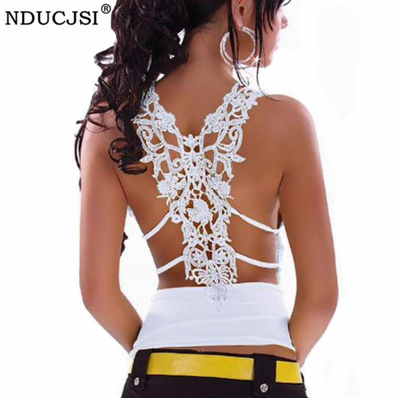 NDUCJSI White Tanks Sexy Camis Summer Deep V-neckLace Tank Tops Female Slim Shirt Black Casual Tops Women Clothing Solid Color