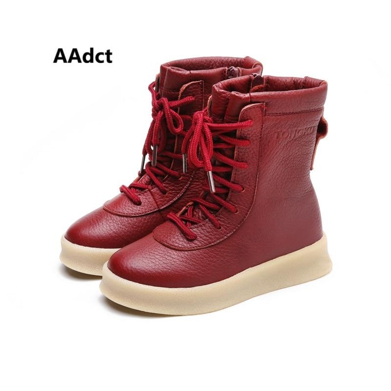 AAdct en cuir véritable filles bottes hiver coton chaud martin enfants bottes pour garçons marque de mode de haute qualité enfants chaussures