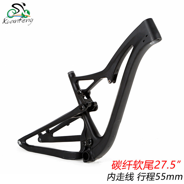 2018 high quality full suspension frame carbon fiber mountain bike frame 27.5er mtb bike frame UD matt thru axle compatiable 17 inch mtb bike raw frame 26 aluminium alloy mountain bike frame bike suspension frame bicycle frame