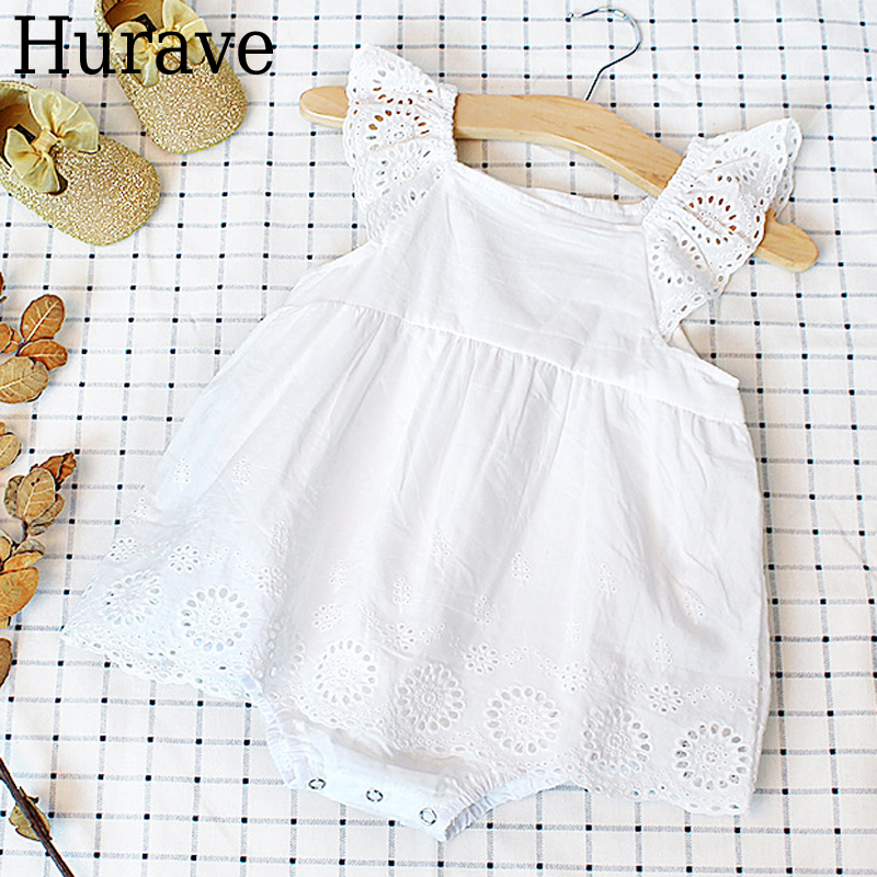 Hurave Europe and the United States style baby girl baby Hundred Days clothing embroidery lace cotton triangle jeans dress summer men s jeans embroidery with hole in europe and the united states jeans micro play cultivate bull puncher knickers zk10082