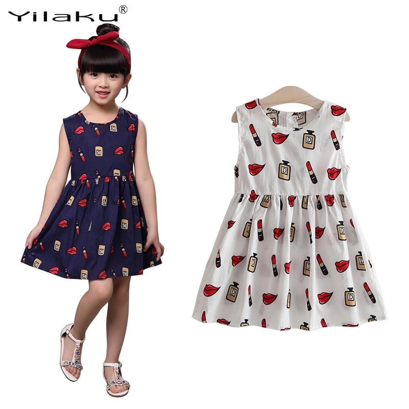 Yilaku Summer Girl Dress Sleeveless Casual Pnt Baby Girls Dress Children Clothing Kids Princess Dresses 3-8 Years Old CA458