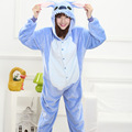 2017 Autumn and Winter Cute Blue Stitch Flannel Autumn and Winter Cartoon Animals Women Pajamas  Adult Hooded Pajama Sets