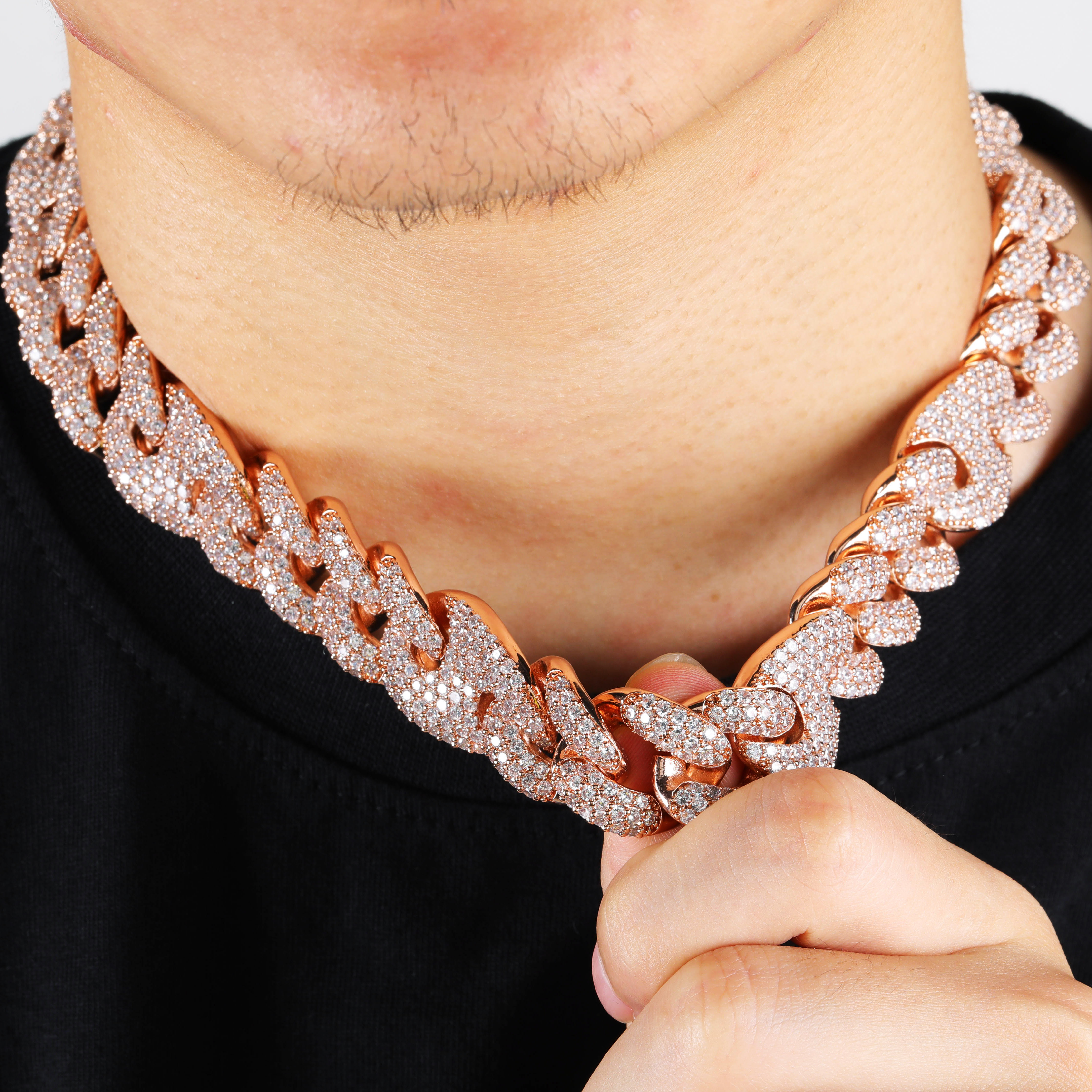 Image 3 - TOPGRILLZ 20mm Miami Lock Clasp Cuban Necklace Iced Out AAA Cubic Zircon Cuban Link Chain Hip Hop Jewelry For Man Necklaces-in Chain Necklaces from Jewelry & Accessories