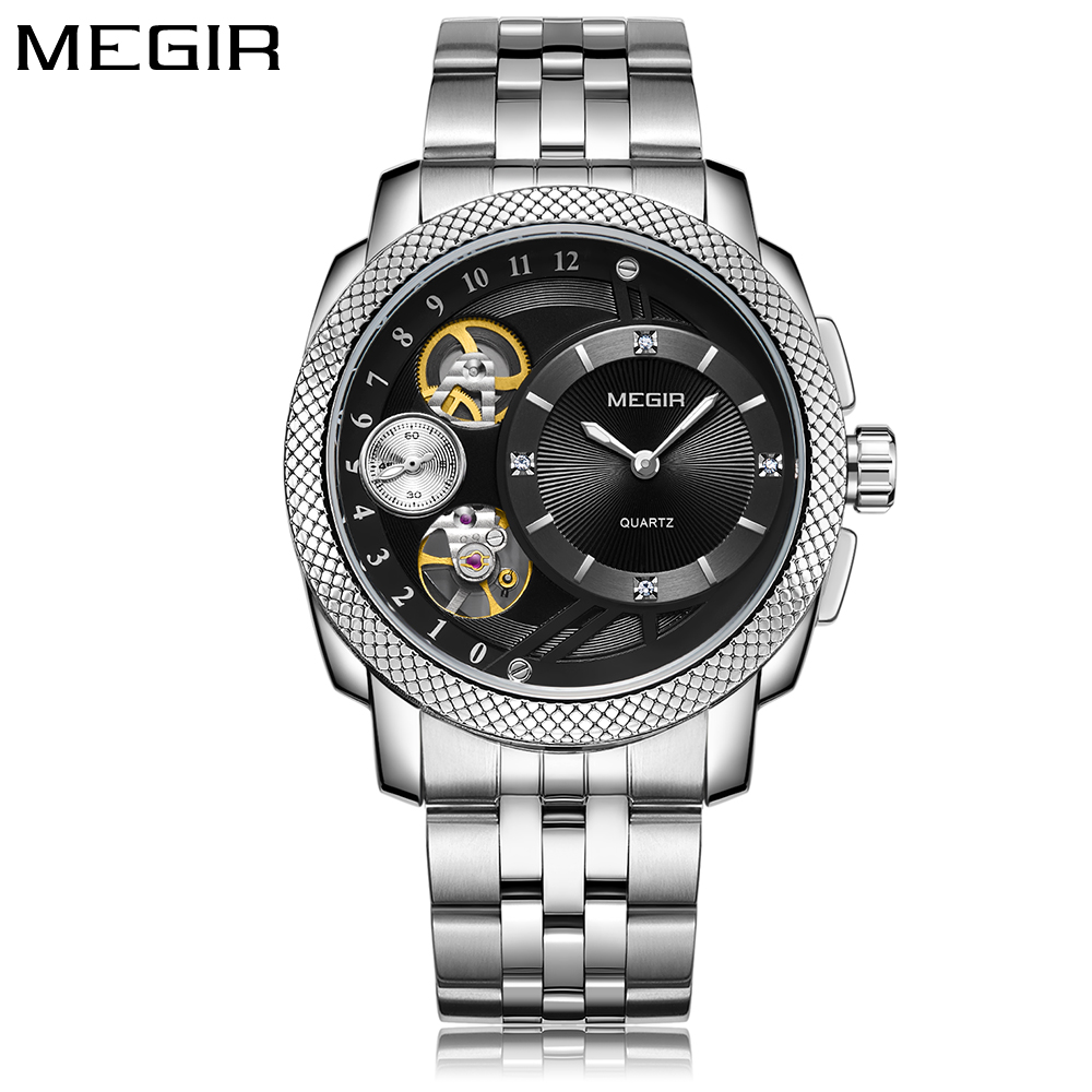 MEGIR Men Watch Gear Decorative Dial Stainless Steel Business Male Quartz Waterproof Wristwatch Clock relogio masculino 2018 New new fashionable men business silver belt gear quartz watch
