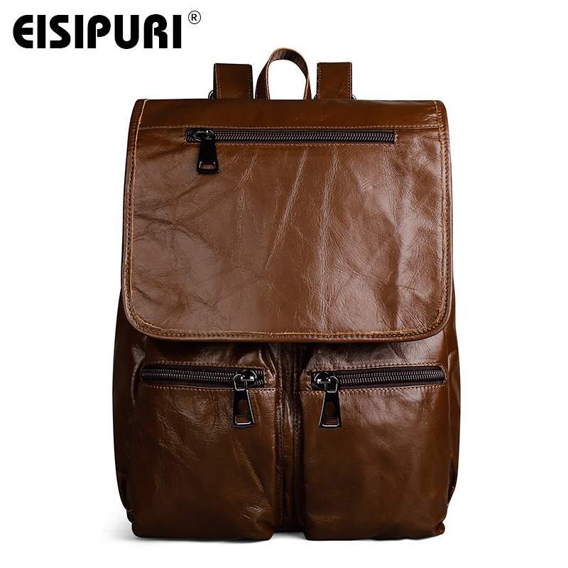 EISIPURI Genuine leather man bag cow leather backpack high quality men shoulder duffel bag school brown men travel Laptop bag big volume weekend bag for man in pu material men s business leather travel bag men duffel bag high quality men shoulder bags
