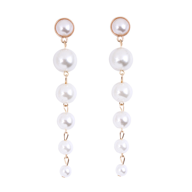 2019 Top Fashion Earing Big Simulated Pearl Long Earrings Elegant Created Pearls String Statement Drop For Women Wedding Gift in Drop Earrings from Jewelry Accessories