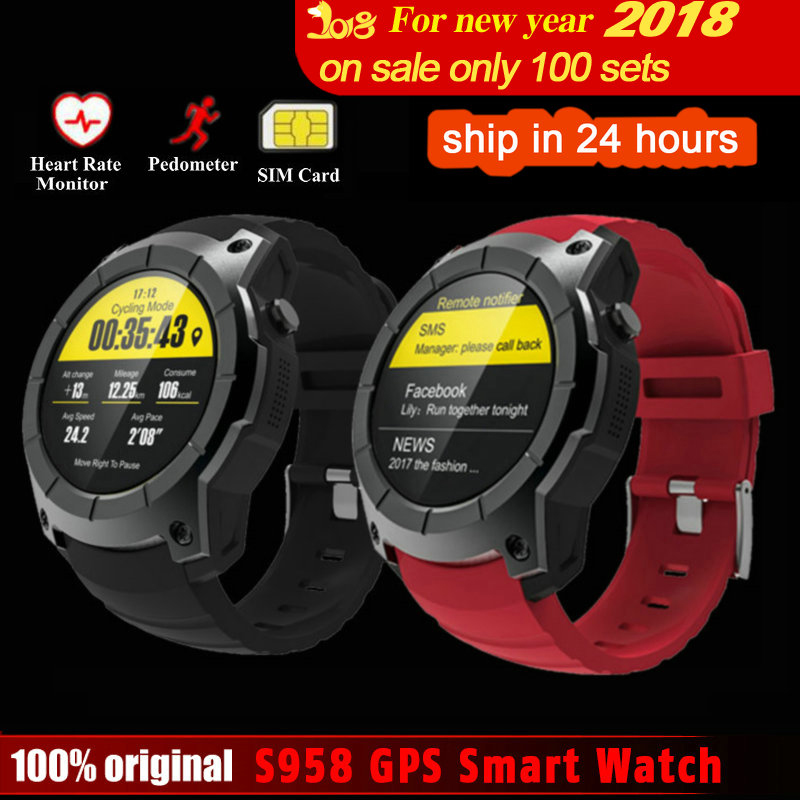 DoubleX S958 GPS Smart Watch Heart Rate Monitor Sport Waterproof SIM Card Support Bluetooth 4.0 Smartwatch for Android IOS Phone s958 gps smart watch heart rate monitor sport ip68 waterproof support sim card bluetooth 4 0 smartwatch for android ios phone
