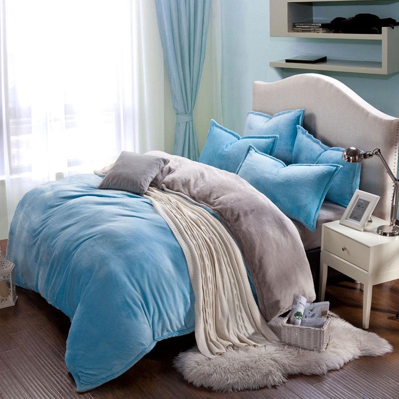 Winter fleece bedding set AB side duvet cover flannel fleece flat sheet 3 / 4pcs solid home bedclothes caroset bed linens warm