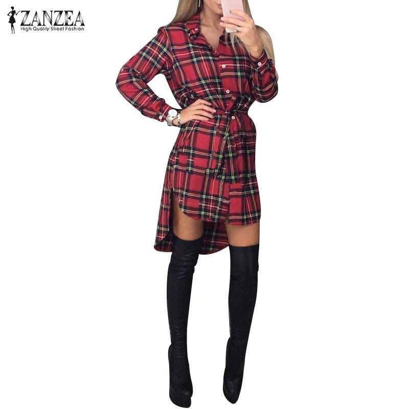 Vintage retro plaid print dress 2017 otoño zanzea mujeres camiseta dress cinturó