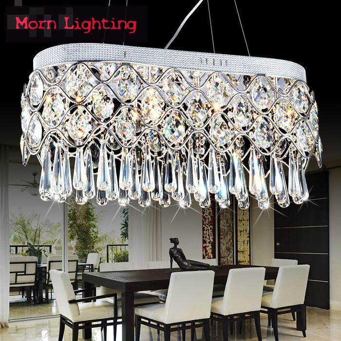 Luxurious Crystal dining Pendant Lamp Modern Creative Oval Restaurant Hanging Lighting Modern rectangular crystal chandelier