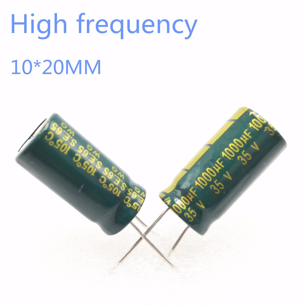 60~200pcs 35V 1000UF 1000UF 35V 10*20 Power Supply Special High-frequency Crystal Electrolytic Capacitor 35V1000uf 20%