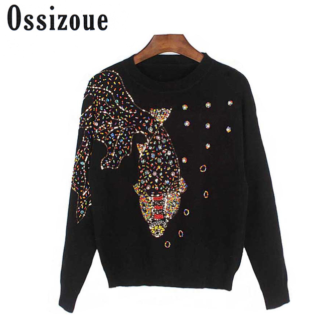 Runway Luxary PulloverThe station serves the new wholesale and heavy manual nail bead goldfish with sequins sweater Plus Size