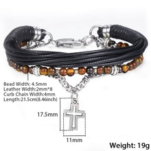 Natural Tiger Eye Stone Beaded and leather Bracelet for men