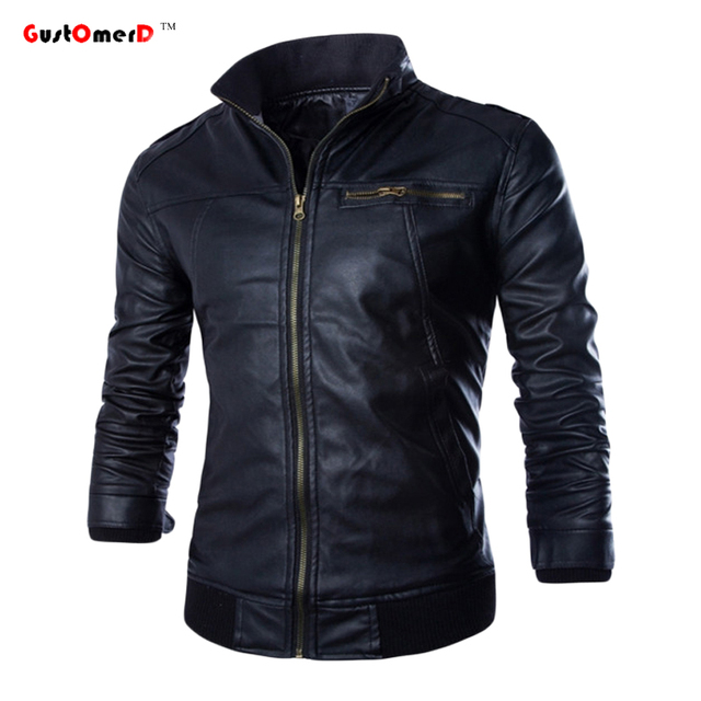 GustOmerD Jacket Men New2016 PU Leather Jacket Fashion Jaqueta De Couro Masculina Men Casual Jackets And Coats Motorcycle Jacket