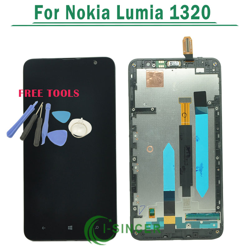Подробнее о Black LCD Display Screen touch Digitizer Assembly with frame For Nokia Lumia 1320 Replacement Free Shipping lcd display screen with touch screen digitizer with frame assembly full set for nokia lumia 1320