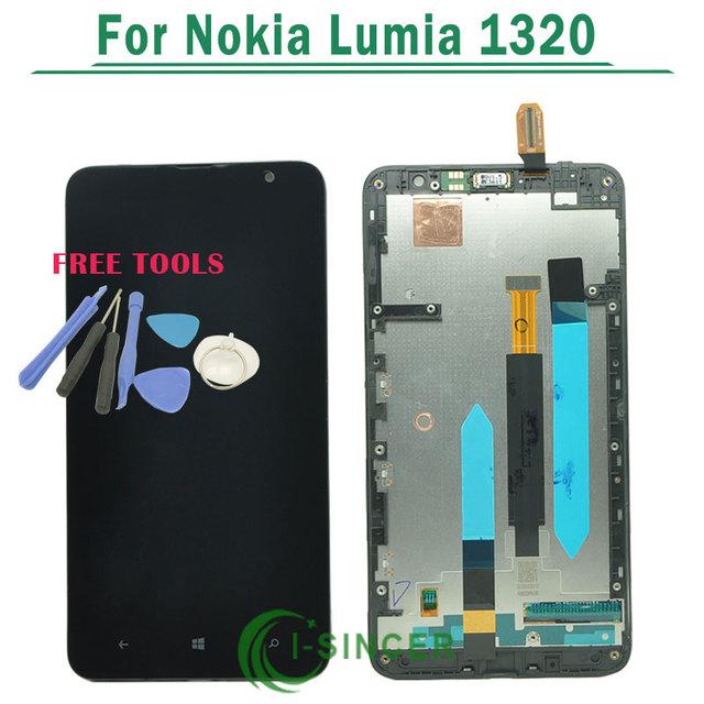Negro pantalla lcd de pantalla táctil digitalizador asamblea con marco para nokia lumia 1320 reemplazo envío gratis
