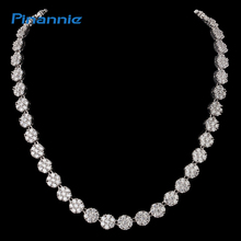Pinannie Rhodium Plated Cubic Zirconia Necklaces Wedding Jewelry Bridal Necklace for Women