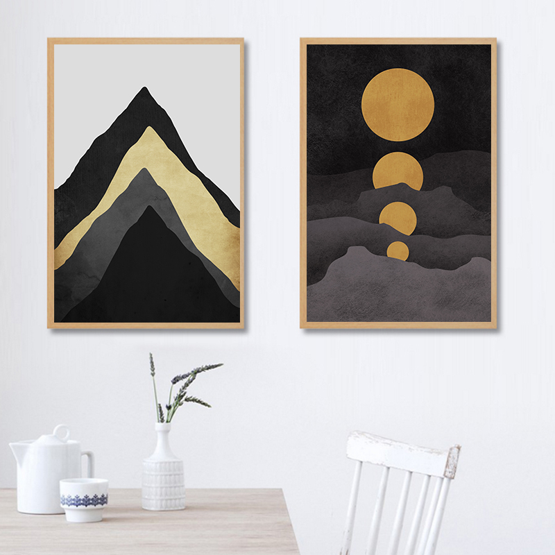 Nordic Style Clip Art Moons Mountains Canvas Posters Print