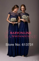 2014 Modest Lace Sheer Illusion Neck Empire Chiffon Navy Blue Bridesmaid Dresses Long With Short Sleeves and Belt BO4334