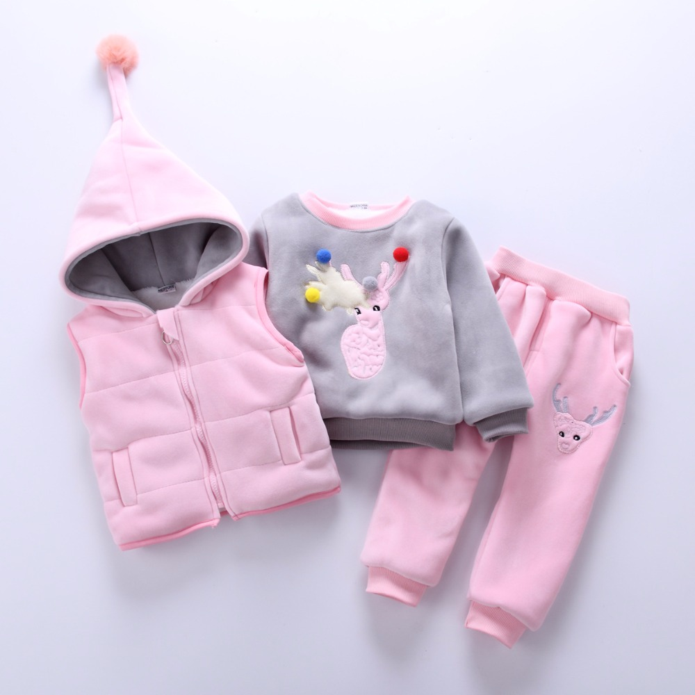 Baby Girl Boy Clothing Sets 2018 Cartoon Pattern Autumn Winter Warm Toddler Vest + Shirt + Pants 1 2 3 4 Years Kid Clothing Suit baby girl boy clothing sets 2018 cartoon pattern autumn winter warm toddler vest shirt pants 1 2 3 4 years kid clothing suit
