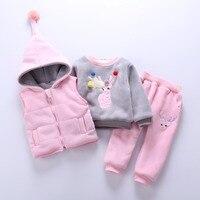 Baby Girl Boy Clothing Sets 2018 Cartoon Pattern Autumn Winter Warm Toddler Vest + Shirt + Pants 1 2 3 4 Years Kid Clothing Suit