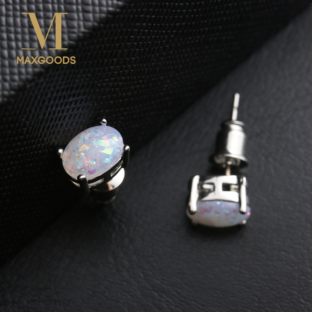 1 Pair Chic Small Oval Opal Stud Earrings Flower Design
