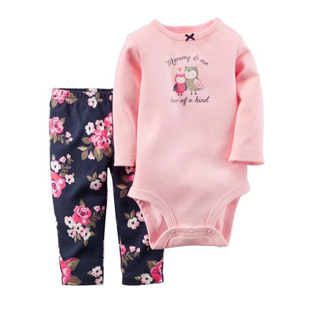 Venta caliente 6-24 Meses Ropa de Bebé Establece El Próximo Otoño muchachas de los bebés del mameluco + pant 2 unids Infantil Sistema de la ropa Roupa Infantil Bebes
