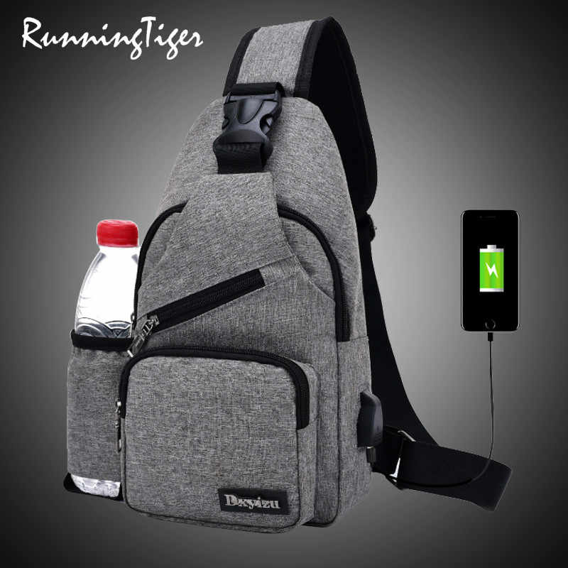 Shoulder (USB Charge Interface) Satchel Large Crossbody Charing Bag 2019 Chest Bag Men With Side Bottle Pocket Canvas Sling Bag