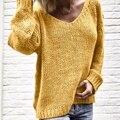 CALOFE, Женские однотонные свитера и пуловеры с v-образным вырезом, вязаная одежда на осень и зиму, пуловер, джемпер, Pull Femme Hiver Truien Dames - фото
