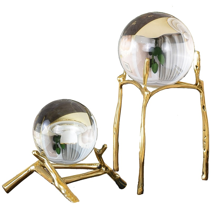 Desktop Crystal Ball Decor with Gilded Metal Bracket|Figurines & Miniatures| |  - title=