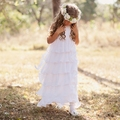 Ivory Chiffon Flower Girl Dresses Ankle Length Tiered Sleeveless Holy Communion Dresses First Communion Dresses for Girls