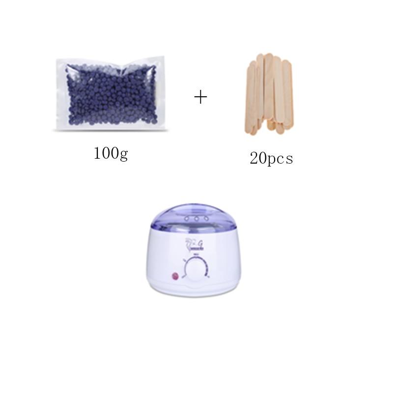 Gustala parafina Cera máquina calentador deplitory Cera olla más Crema de depilación calentador + 100g Cera habas + 20 unids madera espátula Palos