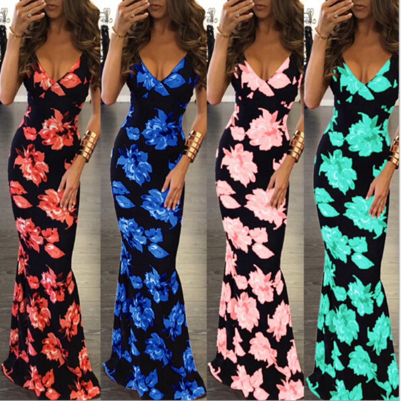 2017 Summer Women Spaghetti Strap Sexy V-Neck Dress Sleeveless Backless Floral Print Dresses Sexy Sheath Dress AQ987843 summer casual bodycon dresses