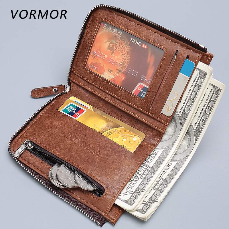 VORMOR Brand High Quality Men Wallet Short Coin Purse Small Vintage Leather Wallets Designer 2017 new wallet small coin purse short men wallets genuine leather men purse wallet brand purse vintage men leather wallet page 2