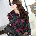 Plus velvet shirt female thermal plaid shirt long-sleeve plus size slim women's thickening basic top