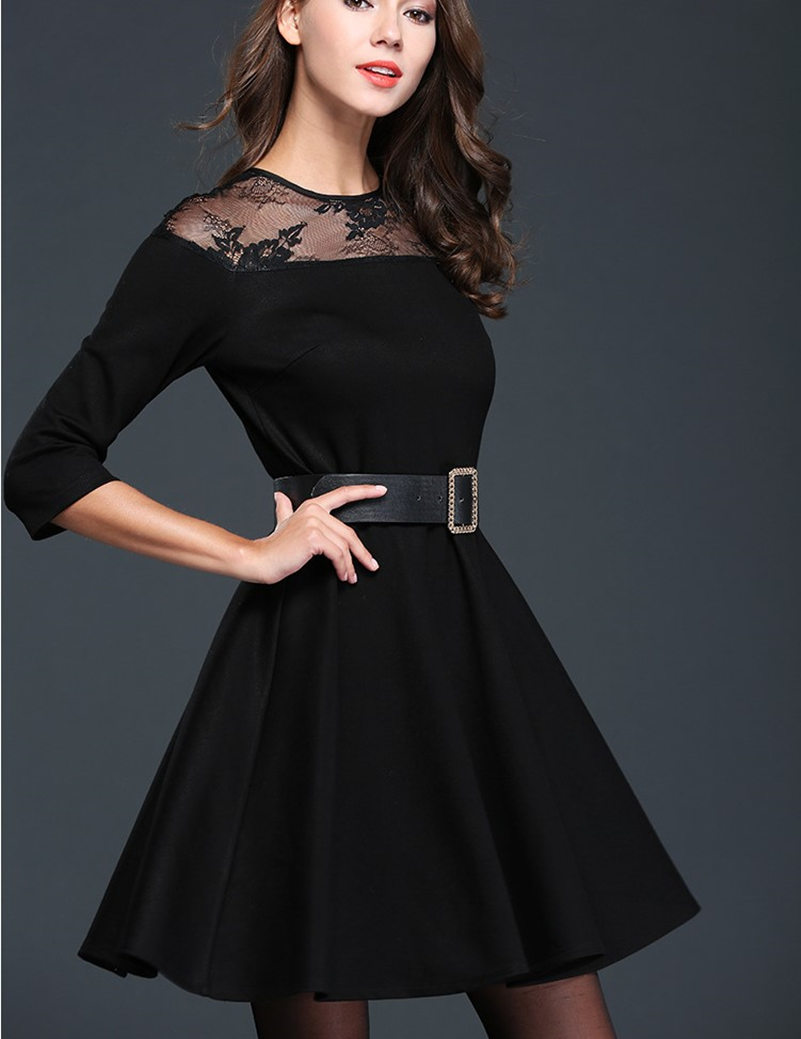 Black dress office - 2016 New Women S Fashion Dresses Black Office Lady Casual Slim Quality Clothing Girls School Casual Lace Dress With Sash L H602