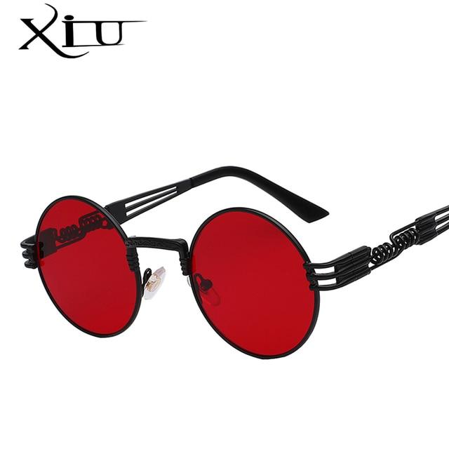 72c064a68 Luxo Metal óculos de Sol Redondos Homens Revestimento de óculos de Sol  Steampunk Óculos Retro Vintage
