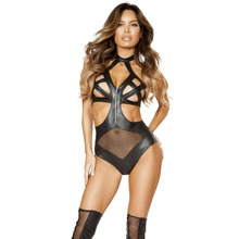 HU&GH Women Lingerie Plus Size 6XL Teddy Hollow Faux Leather Halter Bandages Zipper Mesh Navel Erotic Underwear Sexy Bodysuit