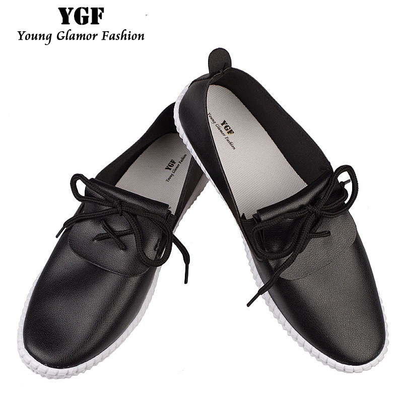 YGF Women Leather Loafers Casual Flats Shoes Slip on New Arrival 2017 Spring Shoes for Women Breathable Flat Shoes Round Toe xiaying smile woman flats women brogue shoes loafers spring summer casual slip on round toe rubber new black white women shoes
