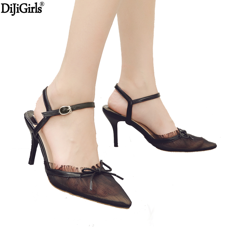 Womans Shoes Sexy Mesh Pointed Toe Shoes Women Thin Heels Pumps Elegent Lady Party -9111