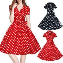 53057f5943 Hepburn styl sukienka w kropki kobiety w stylu Vintage sukienka 50 S 60 S  huśtawka Pinup