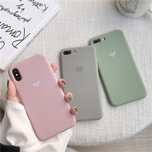 Solid color simple phone case For iPhone X XS Max XR 6 6S 7 8 Plus Fashion Love Candy TPU Soft Case(China)