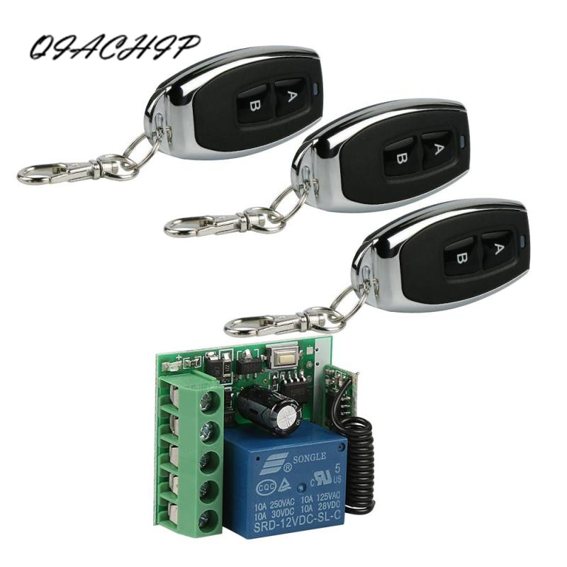 цена на QIACHIP 433Mhz Wireless Remote Control Switch DC 12V 1CH relay Receiver Module and RF Transmitter Smart Home Switch Z3
