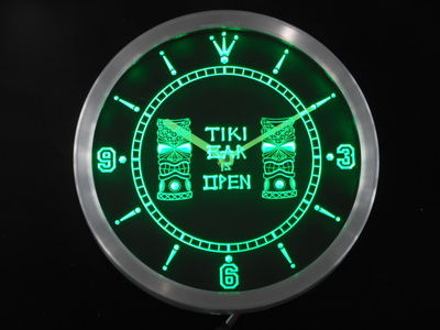 Nc0347 Tiki Bar masques Pub Club néon signe horloge mur LED