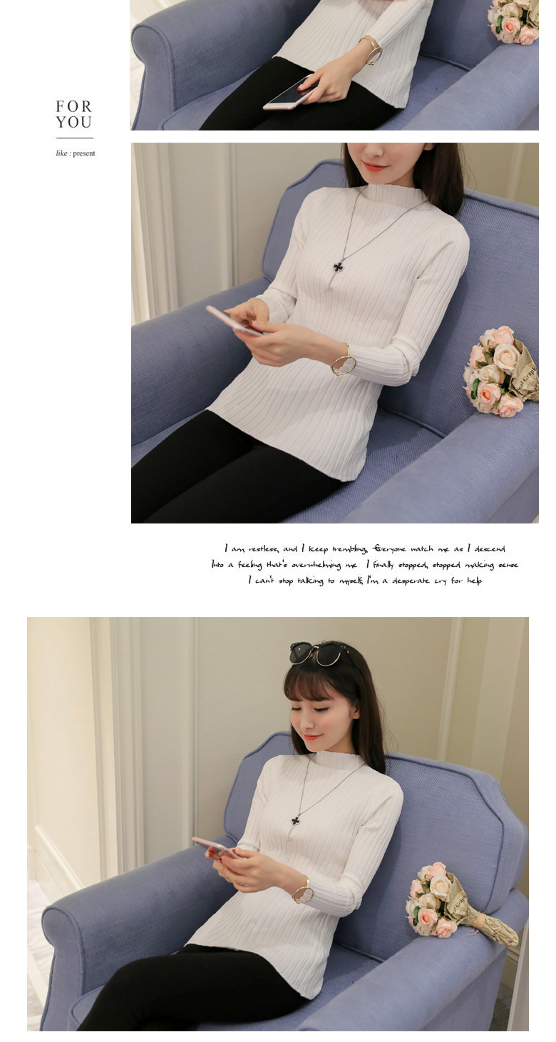 19 Autumn and winter New Korean Half turtleneck Sweater jacket Womens Long Sleeve Set head All-match knitted Sweater woman 23